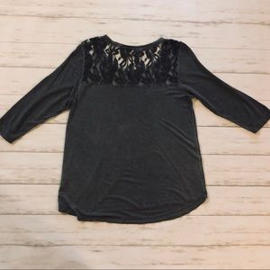 Charcoal Tee With Lace Back